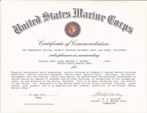 Shannon's Marine Corps Commendation